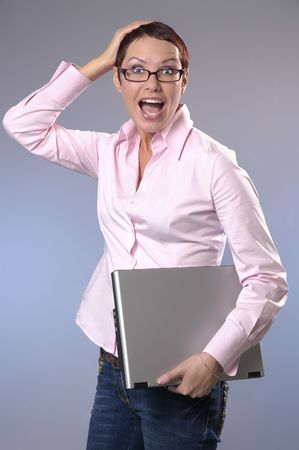 The shouting business woman with a computer Stock Photo - 2025155