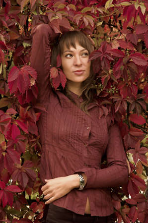 The beautiful girl in red leaves photo