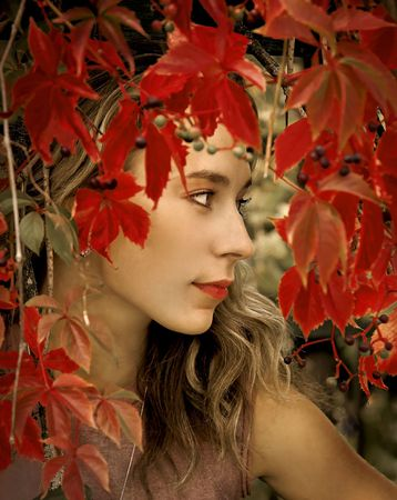 The beautiful blonde in red leaves of grapes photo