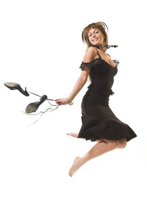 The happy beauty jumps on a white background Stock Photo