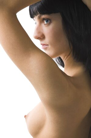 Portrait of the beautiful naked brunette close up Stock Photo