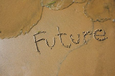 Inscription on sand and a wave