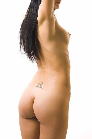the naked girl: La hermosa chica desnuda sobre un fondo blanco  Foto de archivo
