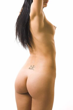 The beautiful naked girl on a white background