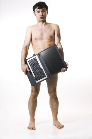 Undressed the man and a computer on a white background Stock Photo