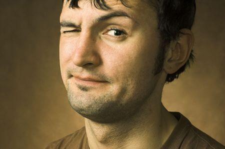 wry: Portrait derisive young men Stock Photo
