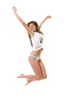 The happy girl jumps in underwear Stock Photo - 2459571