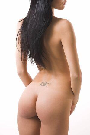 ni�a desnuda: La hermosa chica desnuda sobre un fondo blanco  Foto de archivo