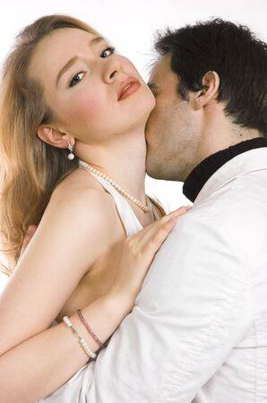 A kissing pair close up photo