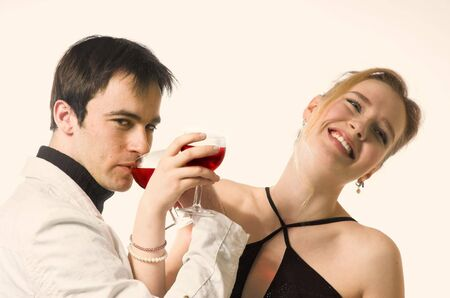The man and the woman  with red wine photo
