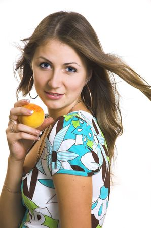 The young girl with a fruit photo