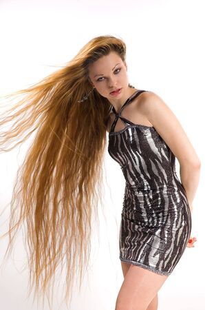 The beautiful girl with long hair photo