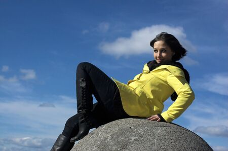 The girl on a background of the sky Stock Photo - 3070441