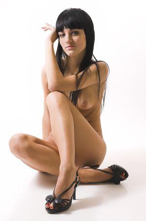 ni�a desnuda: La hermosa chica desnuda  Foto de archivo