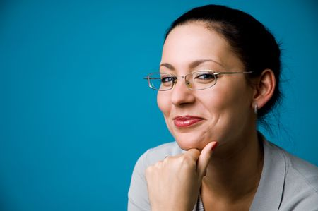 The woman in points on a dark blue background Stock Photo