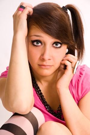 The sad girl the teenager emo