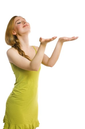 The girl stretches hands on a white background photo