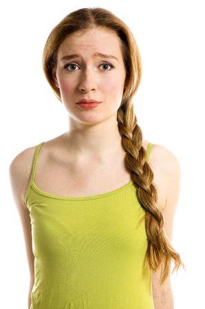 The sad girl on a white background photo