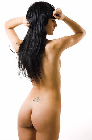 the naked girl: La hermosa chica desnuda en un fondo blanco