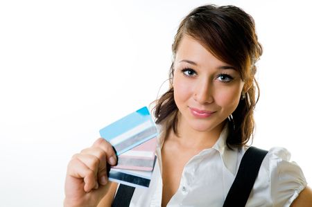 The smiling girl with credit cards in a hand Stock Photo - 4572583