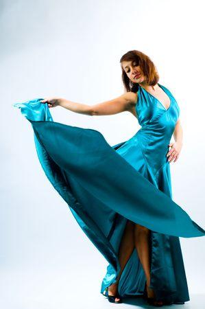 La chica bailando en un vestido Foto de archivo - 4617151