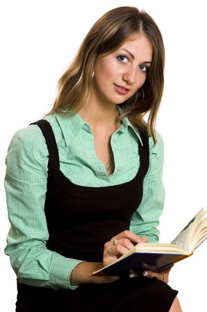 The girl with the book on a white background photo