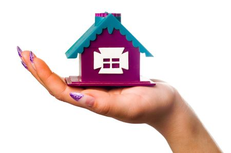 house in the palm of your hand on a white background