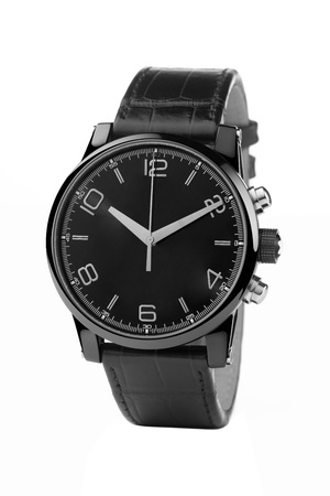 wristwatch: front view of luxury watch, black leather and silver Stock Photo