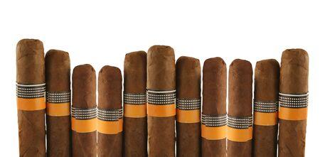 isolated cigars on white background photo