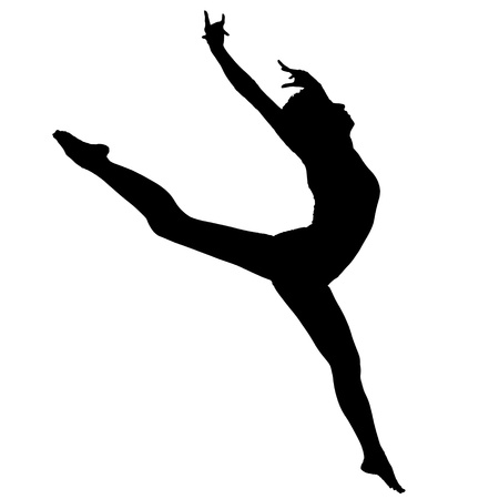 ballet: Negro silueta de la bailarina sobre un fondo blanco