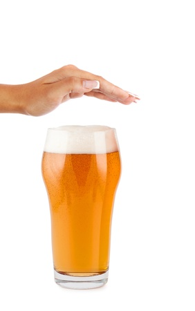waive: hand reject a glass of beer - concept stop alcoholism Stock Photo