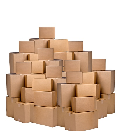 moving crate: cardboard boxes Stock Photo