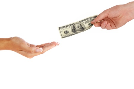 Hand giving money to other hand isolated Stock Photo - 11776595