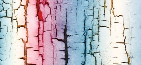 The walls are painted in colorful stripes photo