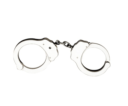 Metal handcuffs for hands on a white background photo