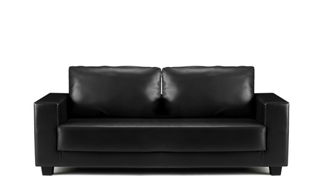 modern sofa: modern black leather sofa isolated Stock Photo