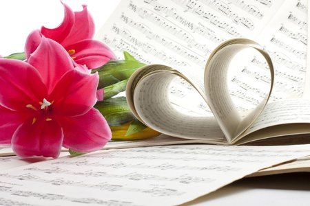music notation: old music note sheet with flowers