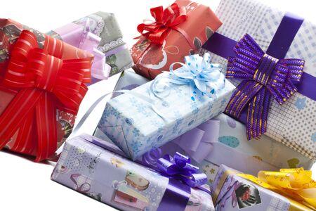 Gift boxes background photo