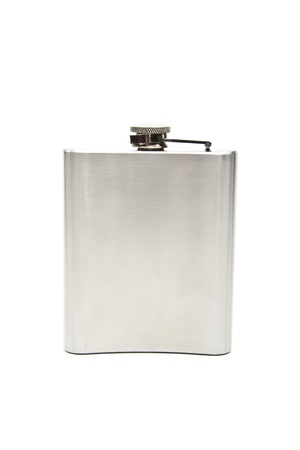 hip flask: Stainless hip flask isolated