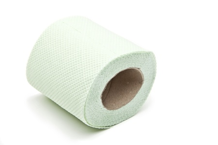 Simple toilet paper on white background photo