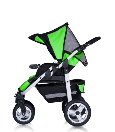 A modern pram isolated against a white background photo