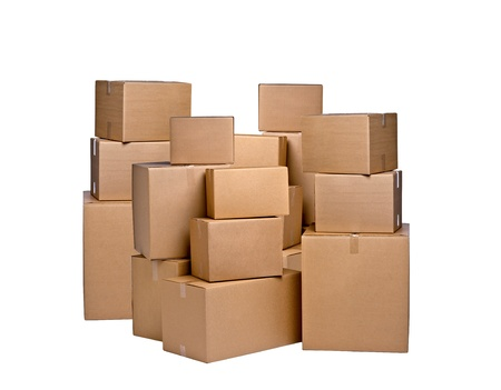 different cardboard boxes on white photo