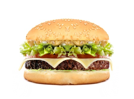 cheeseburgers: big cheeseburger isolated on white Stock Photo