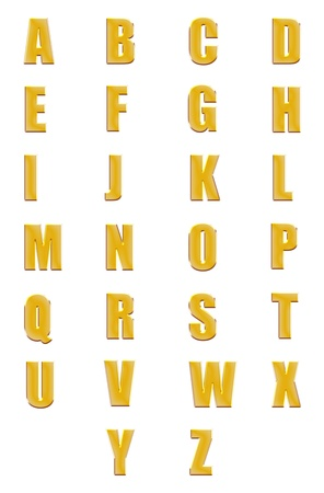 High resolution conceptual golden fonts set or collection isolated photo
