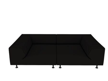 black sofa isolated on white background photo