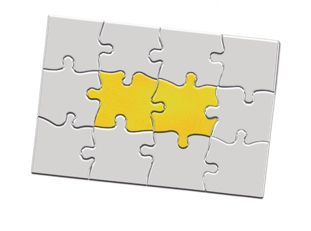 Jigsaw puzzle piece with keyhole photo