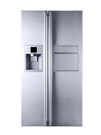refrigerator: Picture a beautiful refrigerator on a white background