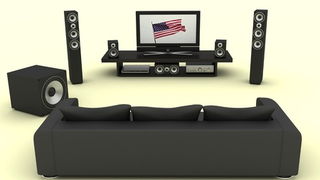 home cinema: A contemporary home theater room without furniture