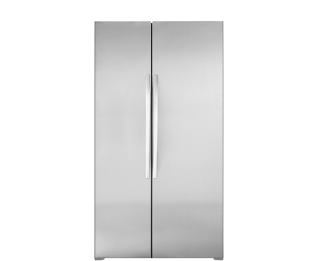 stainless steel kitchen: Modern refrigerator isolated