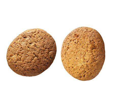 Two oatmeal cookies photo